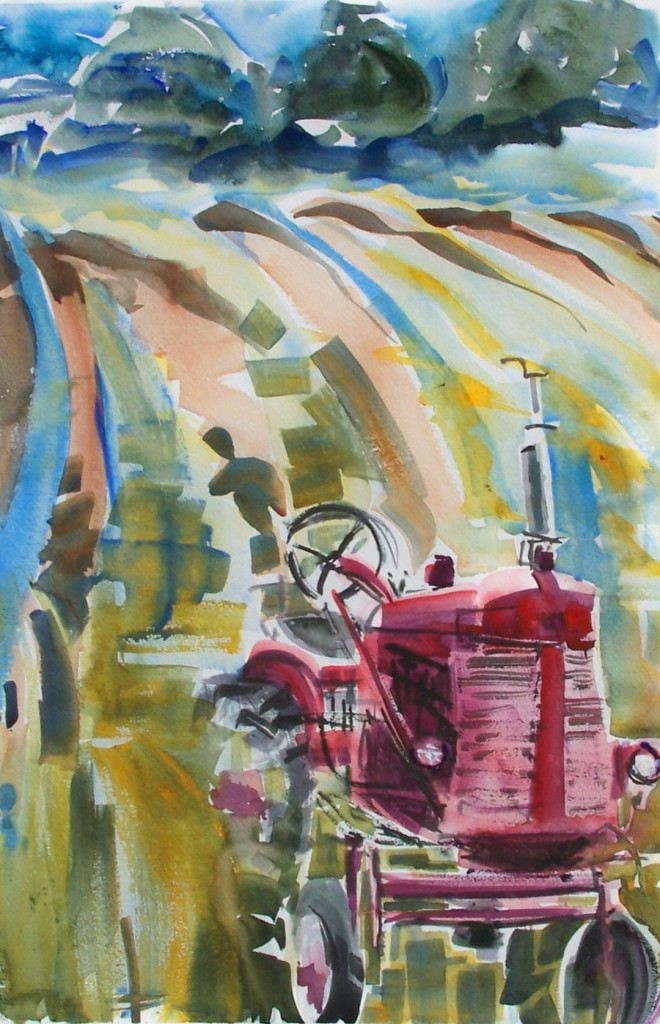 Tractor in Field, watercolor by Alix Travis