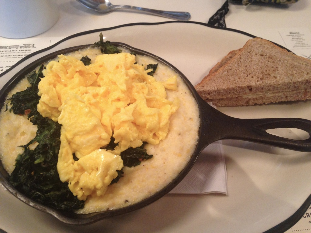 © J.N. Urbanski Wild Hive Farm Polenta with sauteed greens and two scrambled eggs