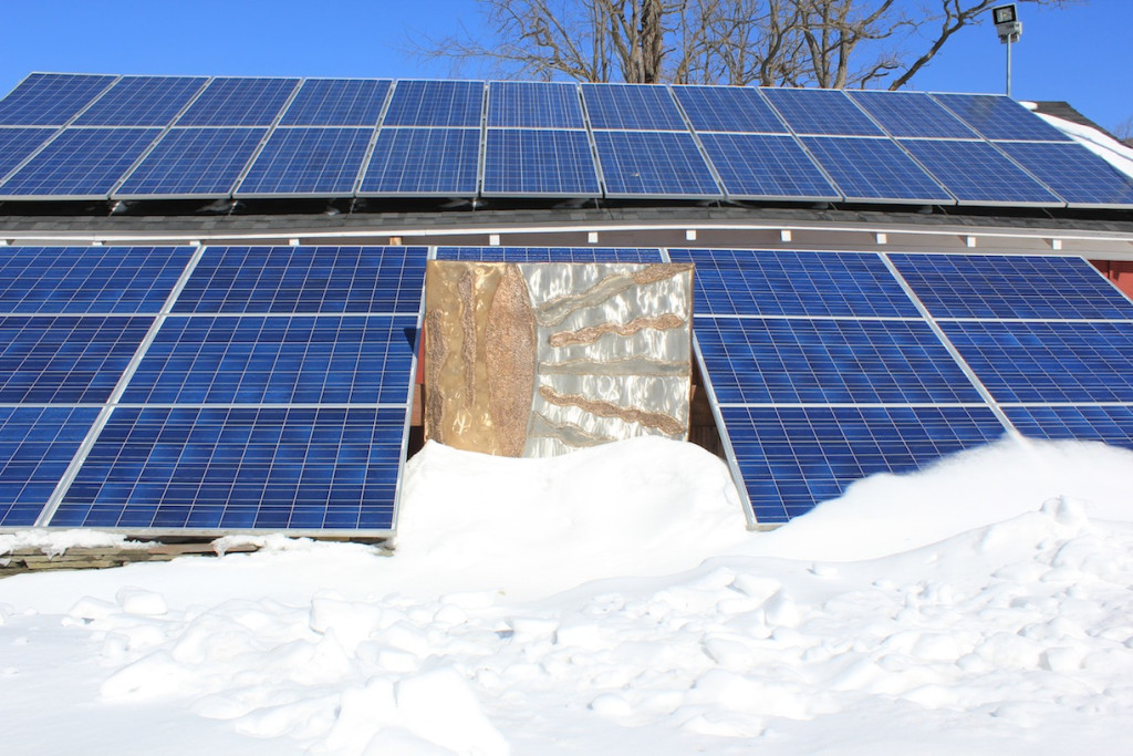 © J.N. Urbanski 11.30am The Solar Array at the Catskill Center covered in snow